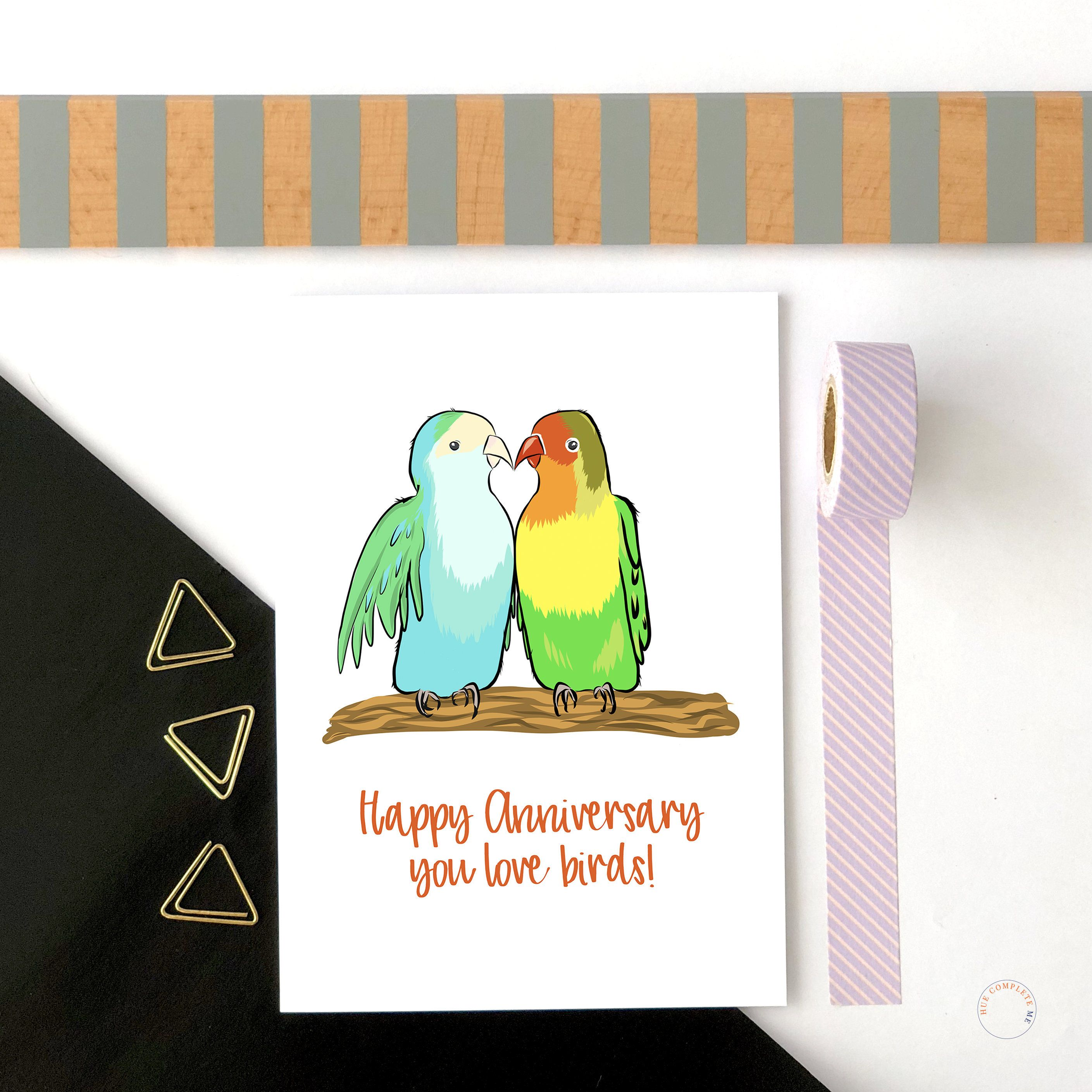 Happy Anniversary You Love Birds Love Bird Anniversary Card Etsy Happy Anniversary Cards Anniversary Cards Wedding Anniversary Cards