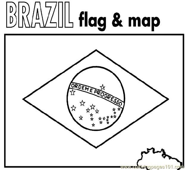 Brazil flag & map coloring page | World Geography | Brazil flag ...