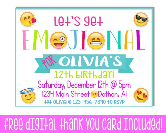 Tween Birthday Emoji Birthday Invitation Emoticon Teenage Party – Teenage Girl Party Invitations