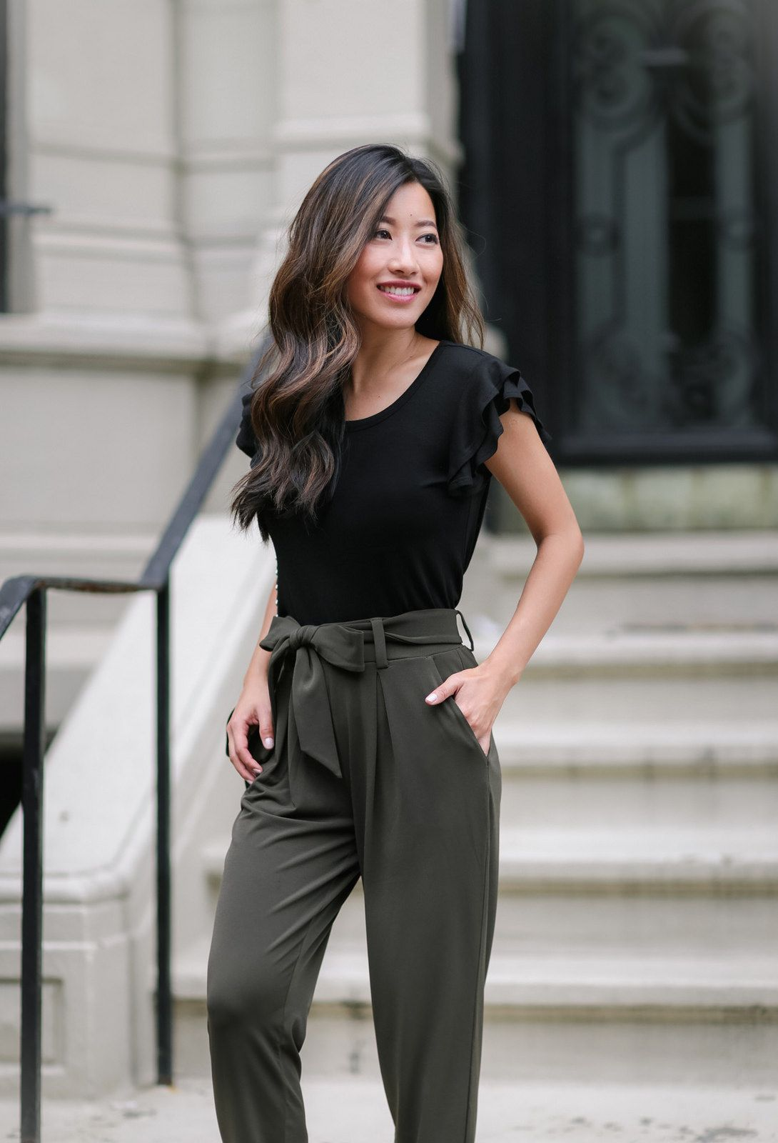 Soft Jersey Drape Pants Black Cropped Blazer Extra Petite Drape Pants Dress Pants Outfits Petite Outfits [ 1600 x 1090 Pixel ]