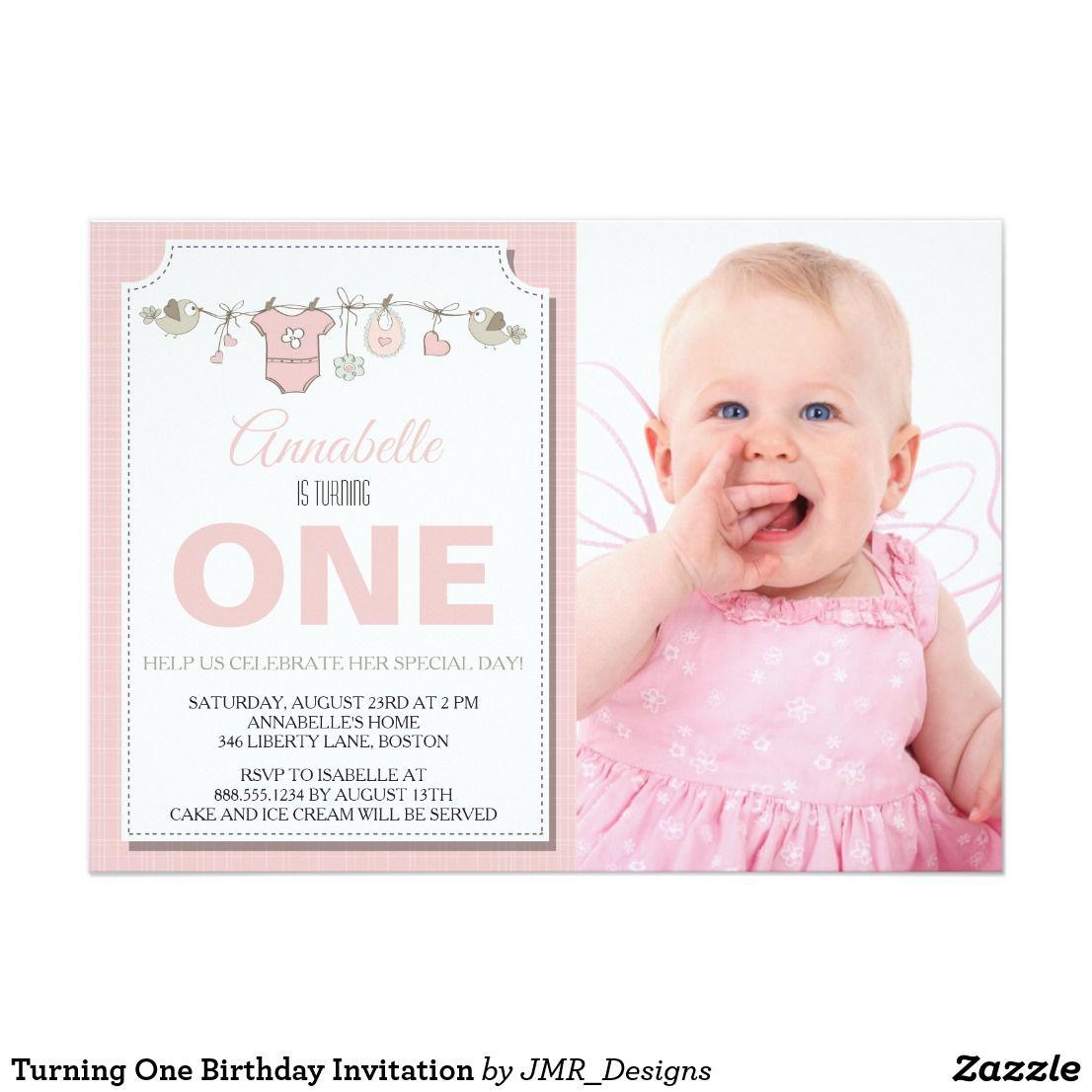 Turning One Birthday Invitation | Baby and Kids Ideas | Pinterest