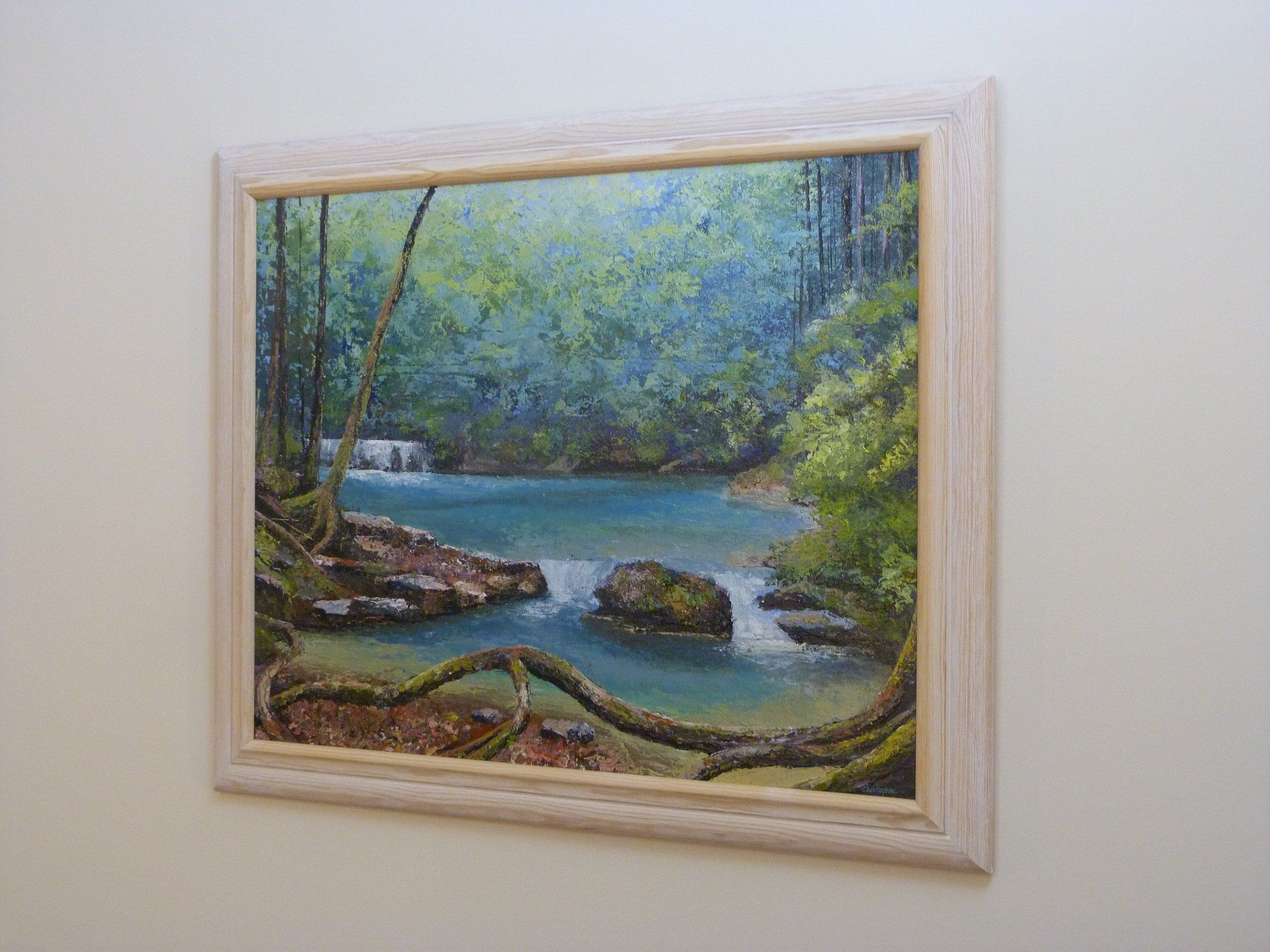 forest opening. painted with painting knives using acrylic paints