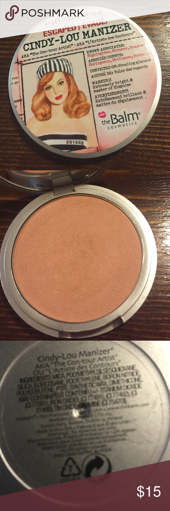 The Balm Cindy Lou Manizer Barely used- just swatched. Doesn't look good on my skin tone. The balm Makeup