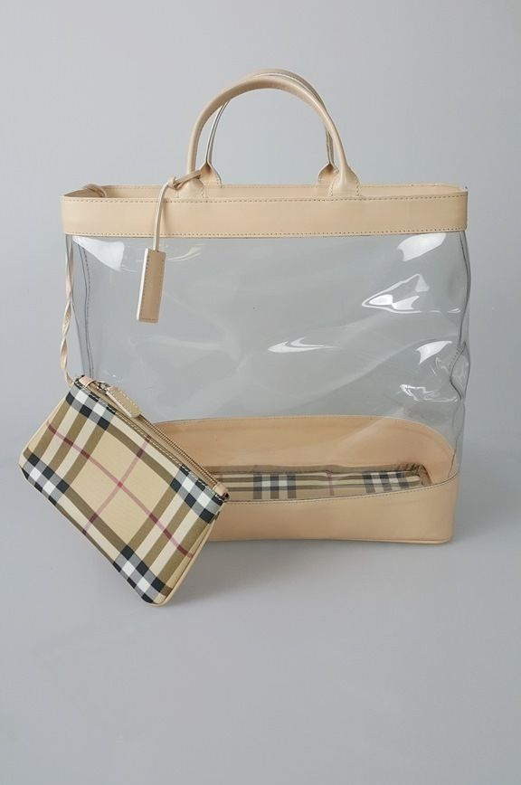 67416b6ecb2 Burberry London Beige Clear PVC Leather Nova Check Tote Bag Handbag Purse   Burberry  TotesShoppers