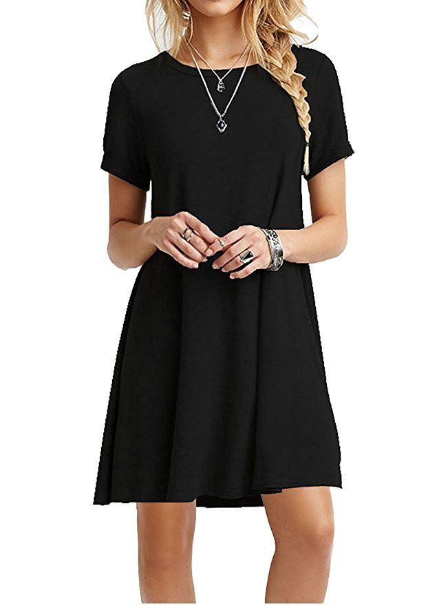 MOLERANI Women's Casual Plain Short Sleeve Simple T-Shirt Loose Dress  |Spring Outfits Dresses