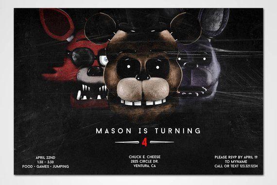 Five Nights At Freddys Invitations Birthday Party Invitation Foxy Bonn