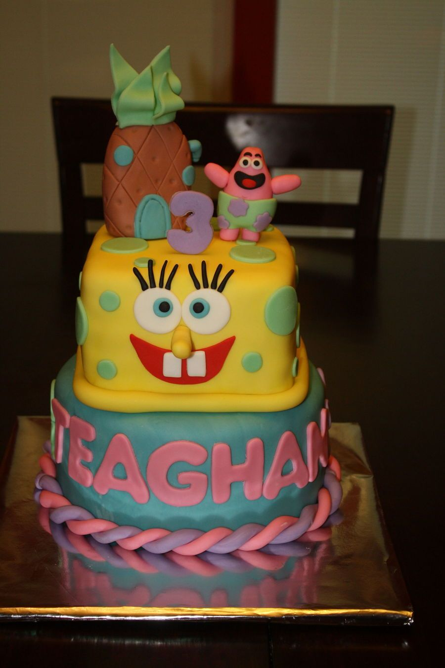 Cake ideas on pinterest pirate cakes marshmallow fondant and - Spongebob Squarepants Girl Cake All Marshmallow Fondant Bottom Tier Chocolate Cake With Buttercream Filling Top Tier