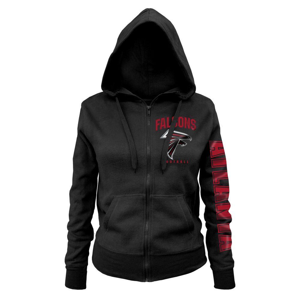 Women S Atlanta Falcons New Era Black Playbook Glitter Sleeve Full Zip Hoodie Hoodies Atlanta Falcons Women Zip Hoodie