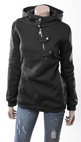 []  Ilishop Women's High Collar Long Sleeve Hooded Sweatshirt Hoodie Black L-US12 []---