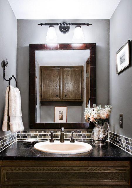 Really Like The Tile Accent Around The Vanity For The Powder Room Home Glass Tile Backsplash Bathroom Powder Room Design