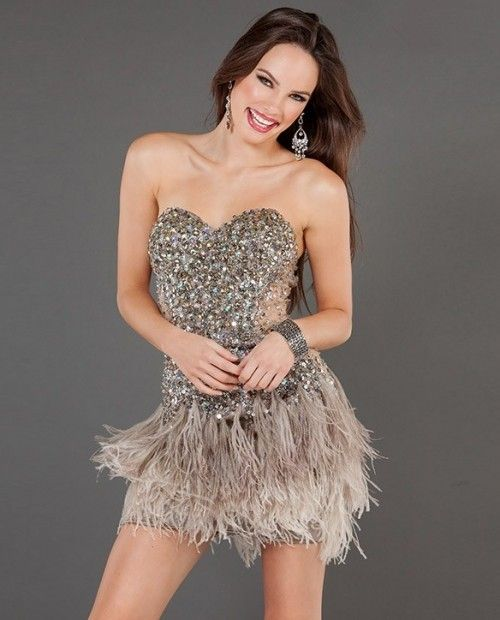 Sexy Sheath Sweetheart Short/Mini Brown Beaded Feather Cocktail ...