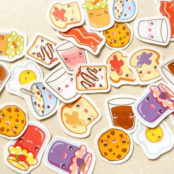 Cute Food Planner Stickers- Kawaii Breakfast Planner Sticker Pack of 30, Erin Condren Sticker, Stickers for Planner, Calender Agenda Sticker