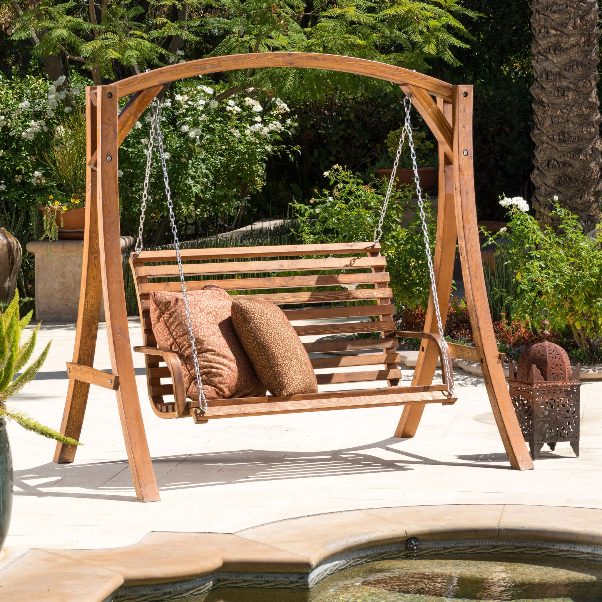 marlette outdoor wood swinging bench and base bomen ketens en