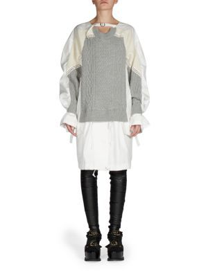 618fb37398 SACAI Mixed Media Knit   Cotton Poplin Long-Sleeve Dress.  sacai  cloth   dress