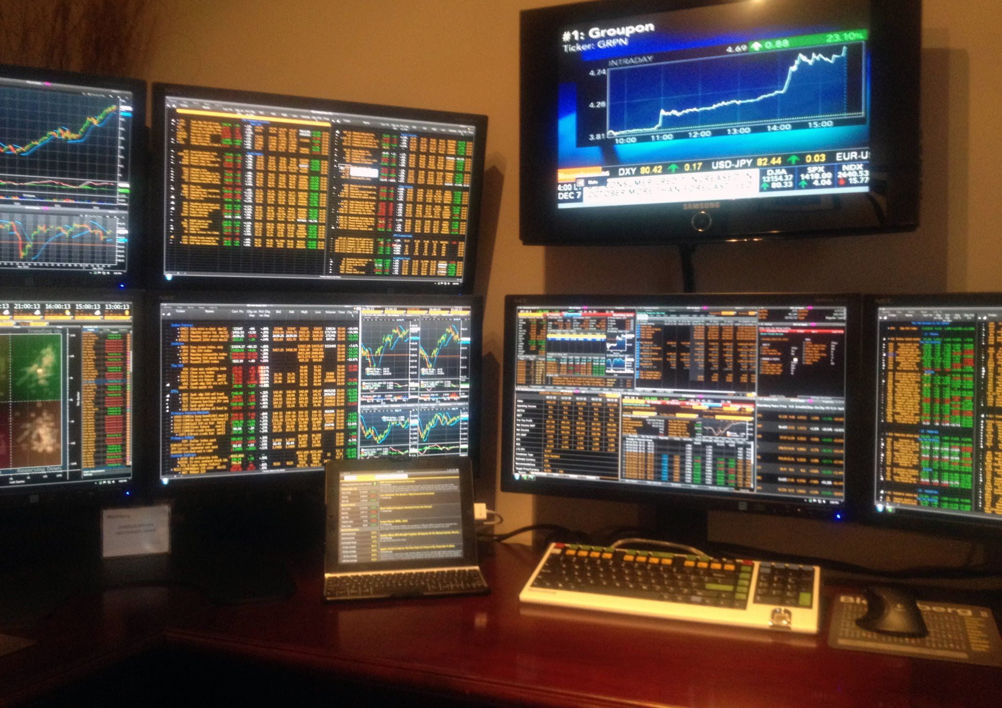Stock Broker Battlestation Trading Desk Computer Room Gaming Room Setup