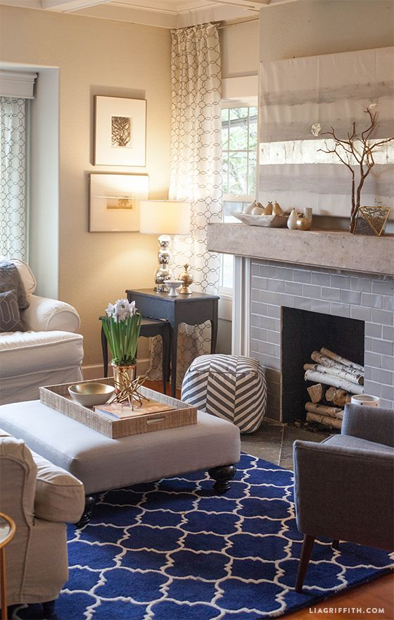 My Home Tour My Living Room In Navy And Gold Rugs In Living