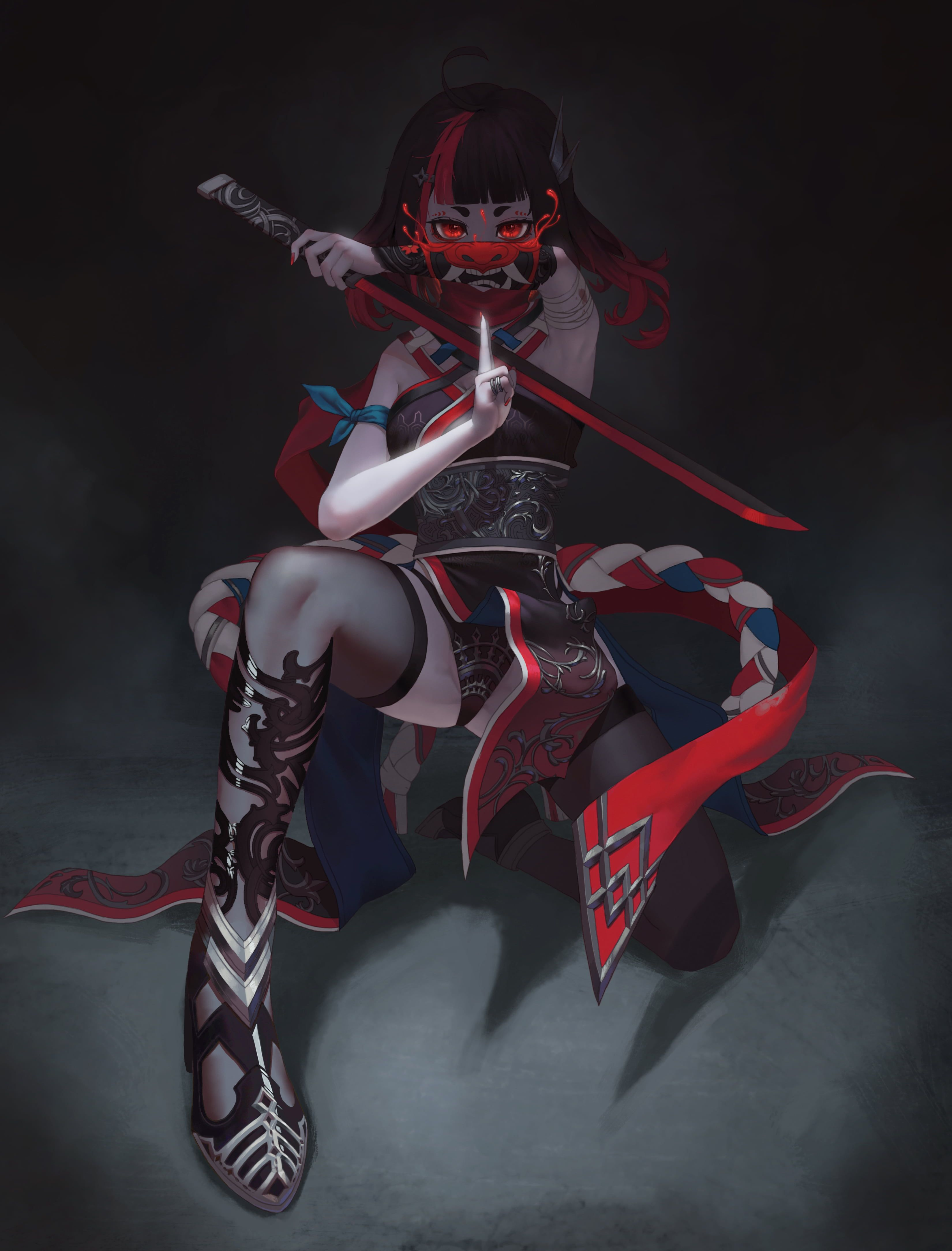Ninja Girl Oni Mask Sword Red Eyes Artwork Minimalism 4k Wallpaper Hdwallpaper Desktop Ninja Girl Anime Warrior Oni Mask
