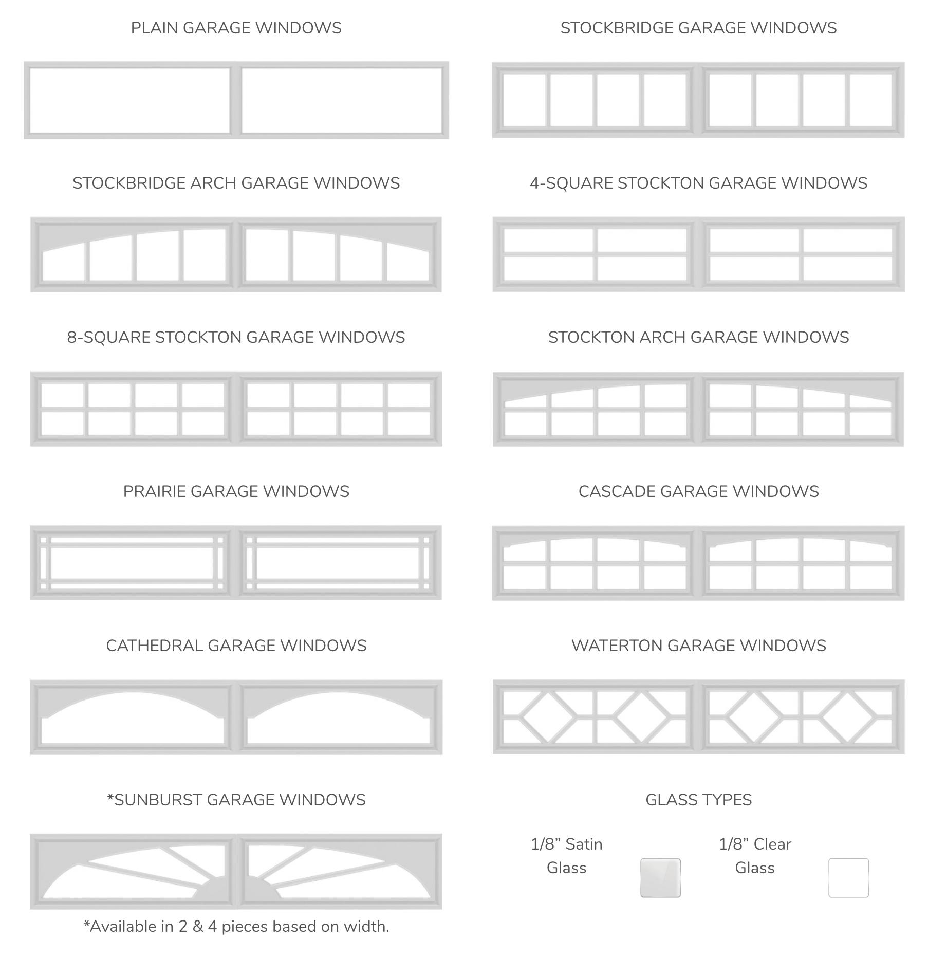 Glass Options Carriage Style Garage Doors Residential Garage Doors Garage Windows