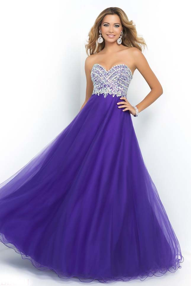 Deep Purple Beaded Bodice Long Designer Evening Gowns Sale | Prom ...