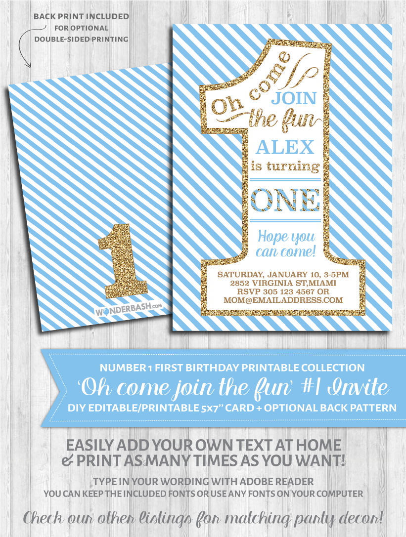 First Birthday Party Invitations - 1 - Blue and gold glitter | Gold ...
