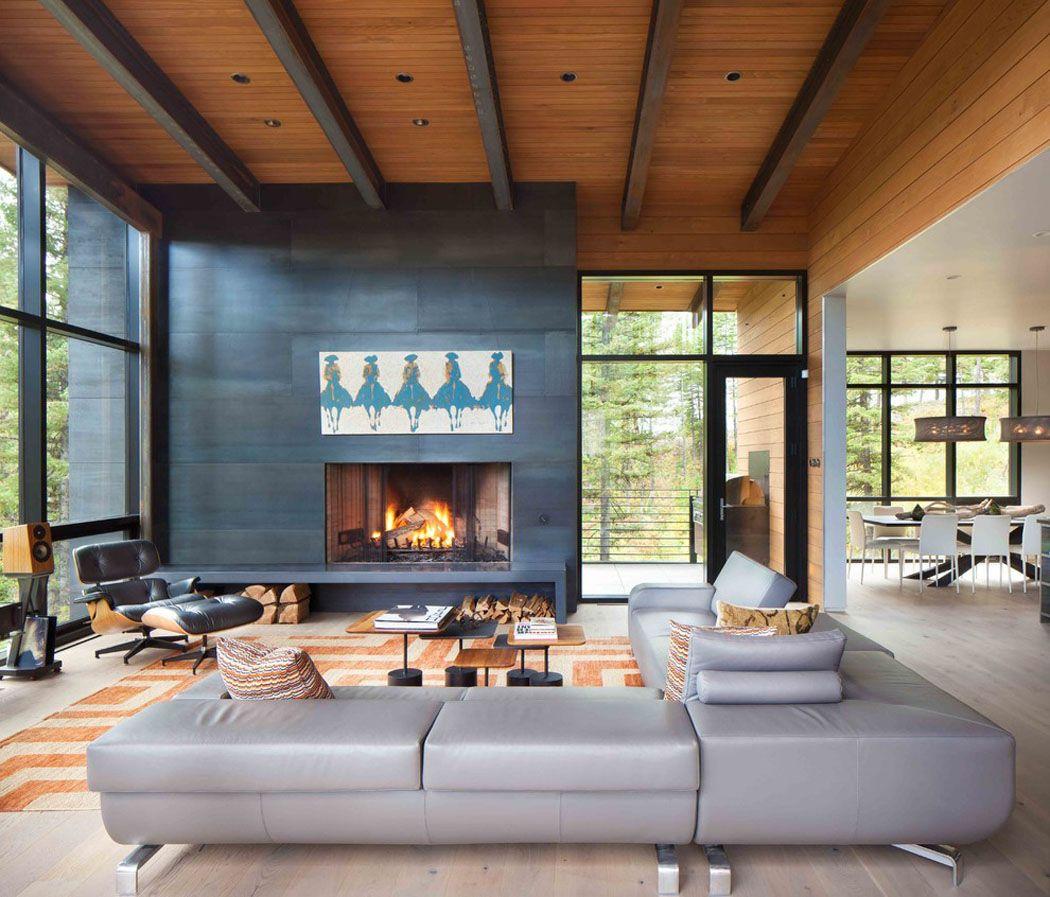 moderne maison rustique l architecture et agencement cr atif au montana maisons rustiques. Black Bedroom Furniture Sets. Home Design Ideas
