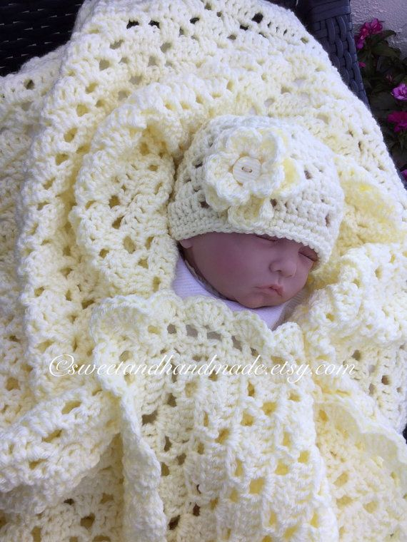 Yellow crochet baby afghan stroller blanket and hat yellow baby ...