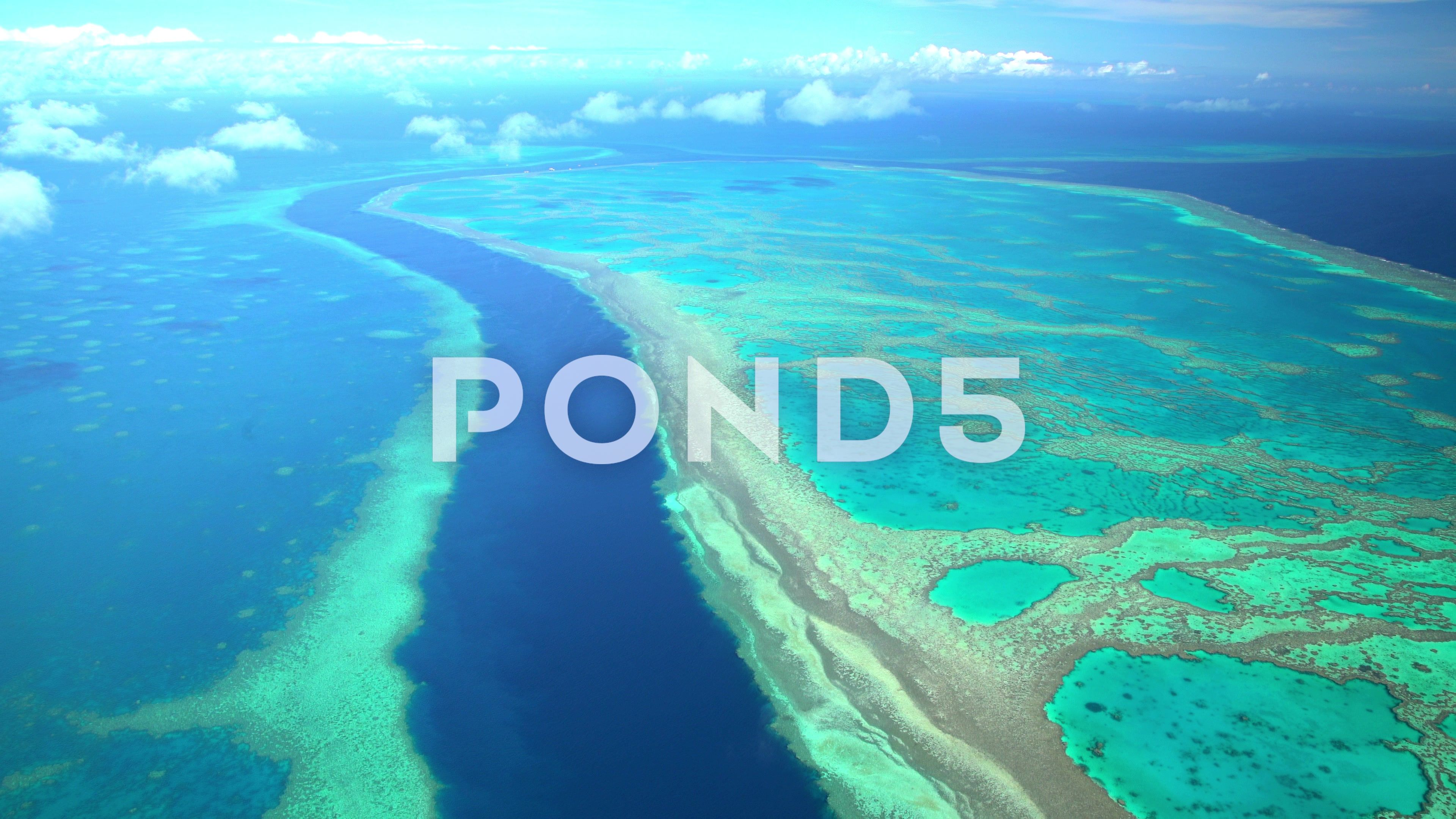 Aerial view of Great Barrier Reef Coral Sea Pacific Ocean Queensland
