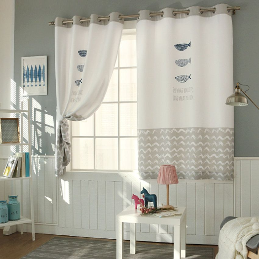 Fish patterned fully lined blackout curtains eyelet - Childrens bedroom blackout curtains ...