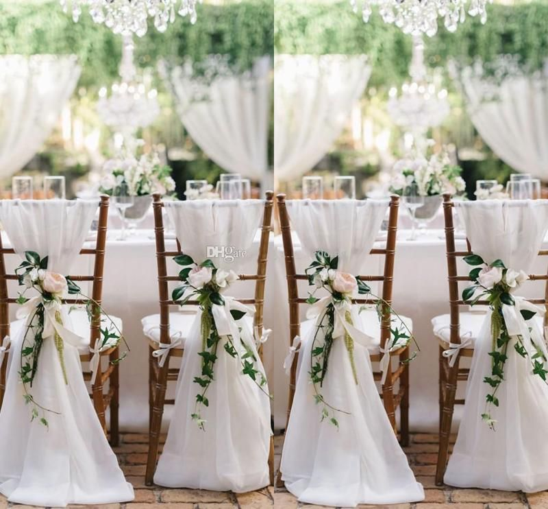 2015 Ivory Chair Sash for Weddings with Big 3DChiffon Delicate