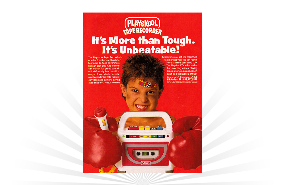 An advertisement from 1992 for the #Playskool Tape Recorder, reflecting a time when cassettes were still king.  #vintagetoys