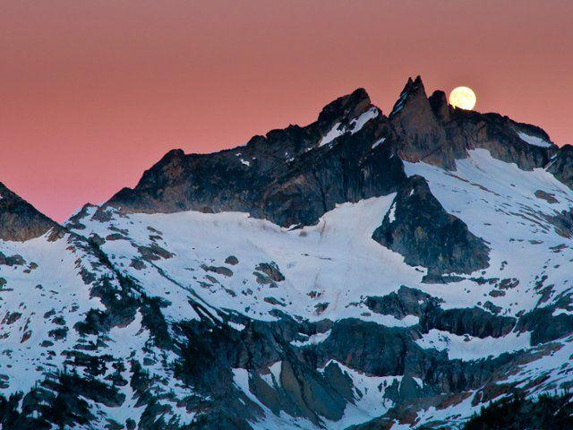 Full Moon Over Gunsight Peak, Washington