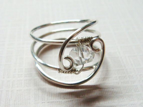 Herkimer Diamond - Sara's Serenity Herkimer Gemstone Sterling Silver Ring - Wire Wrapped Ring