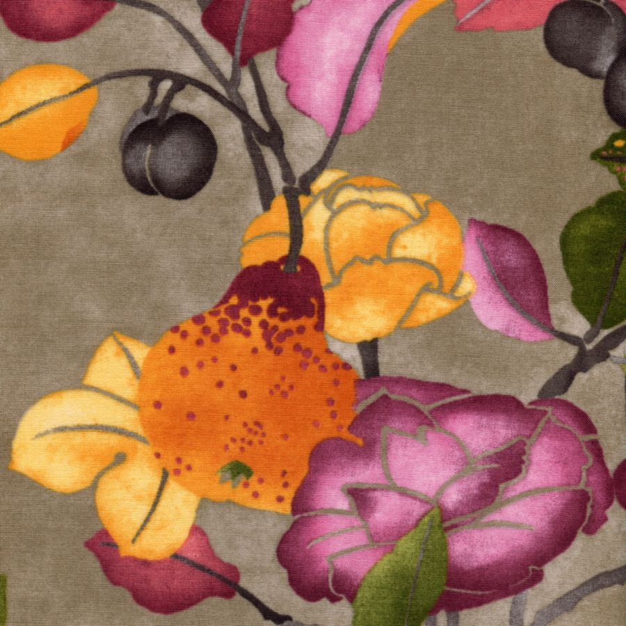 Abundance Floral Taupe Violet - In the Beginning - Jason Yenter - 1 yard - More Available by BywaterFabric on Etsy
