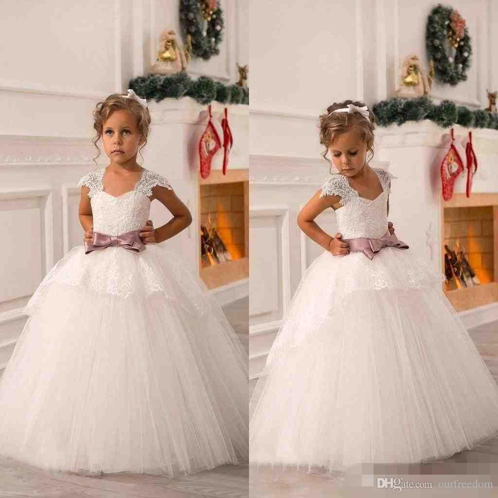 New Cute Off Shoulder Lace Sash Ball Gown Net Baby Girl Birthday