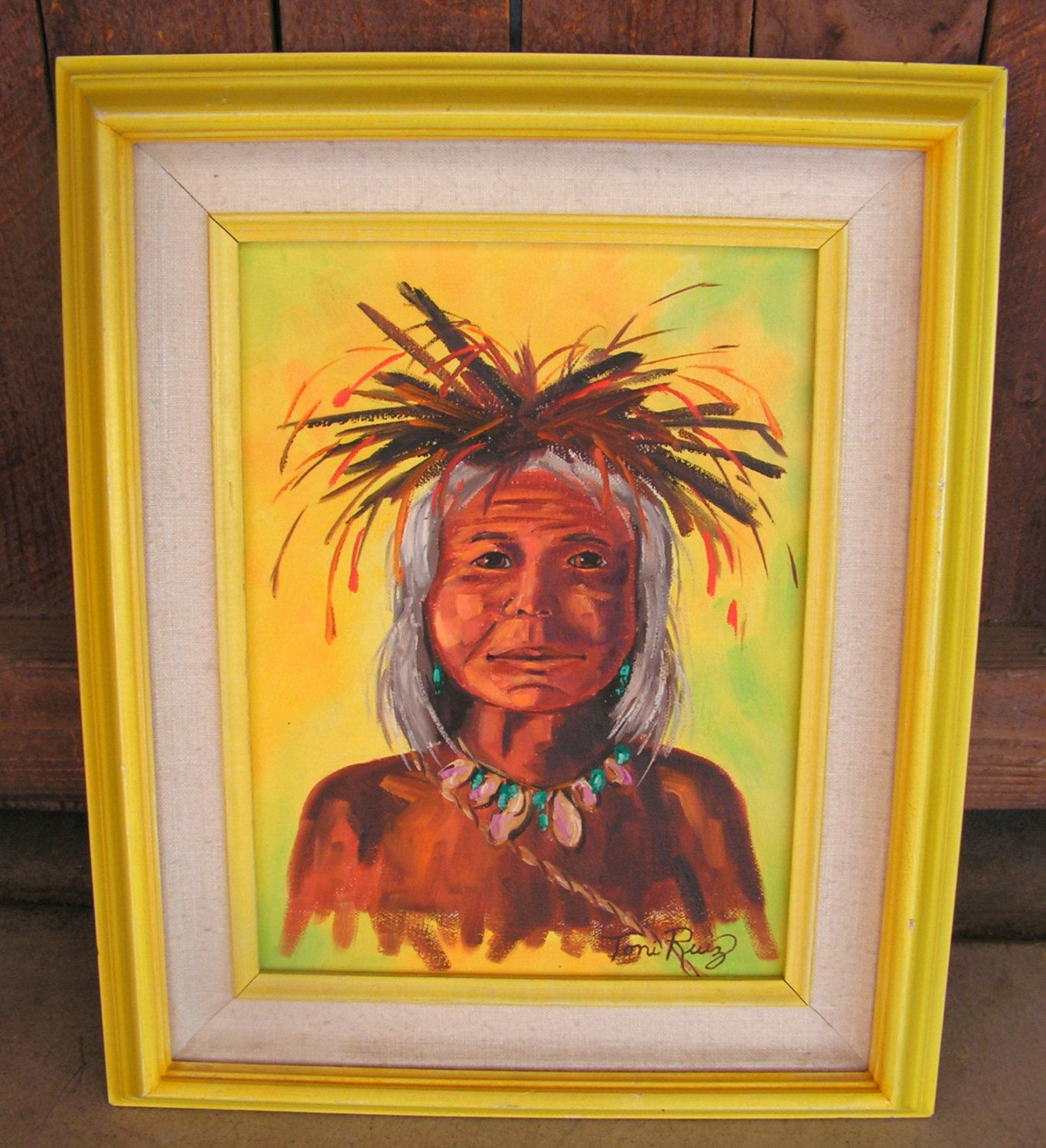 Original Southwestern indian Painting Yellow Framed Wall ARt Hanging ...