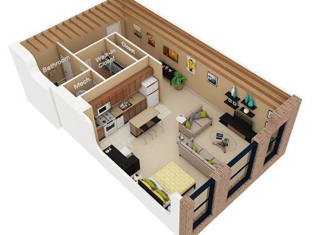 Studio Apartment 3d Floor Plan Google Search Studio Loft