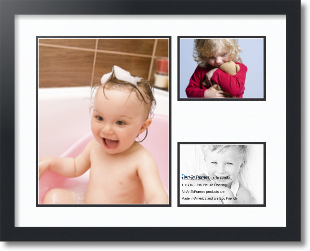 1 11x14 And 2 5x7 Openings Satin Black Collage Picture Frame 25x20 Finished Size Top Mat Super White And Bottom Mat Black With No Glass Collage Picture Frames Frame Custom Frames Online