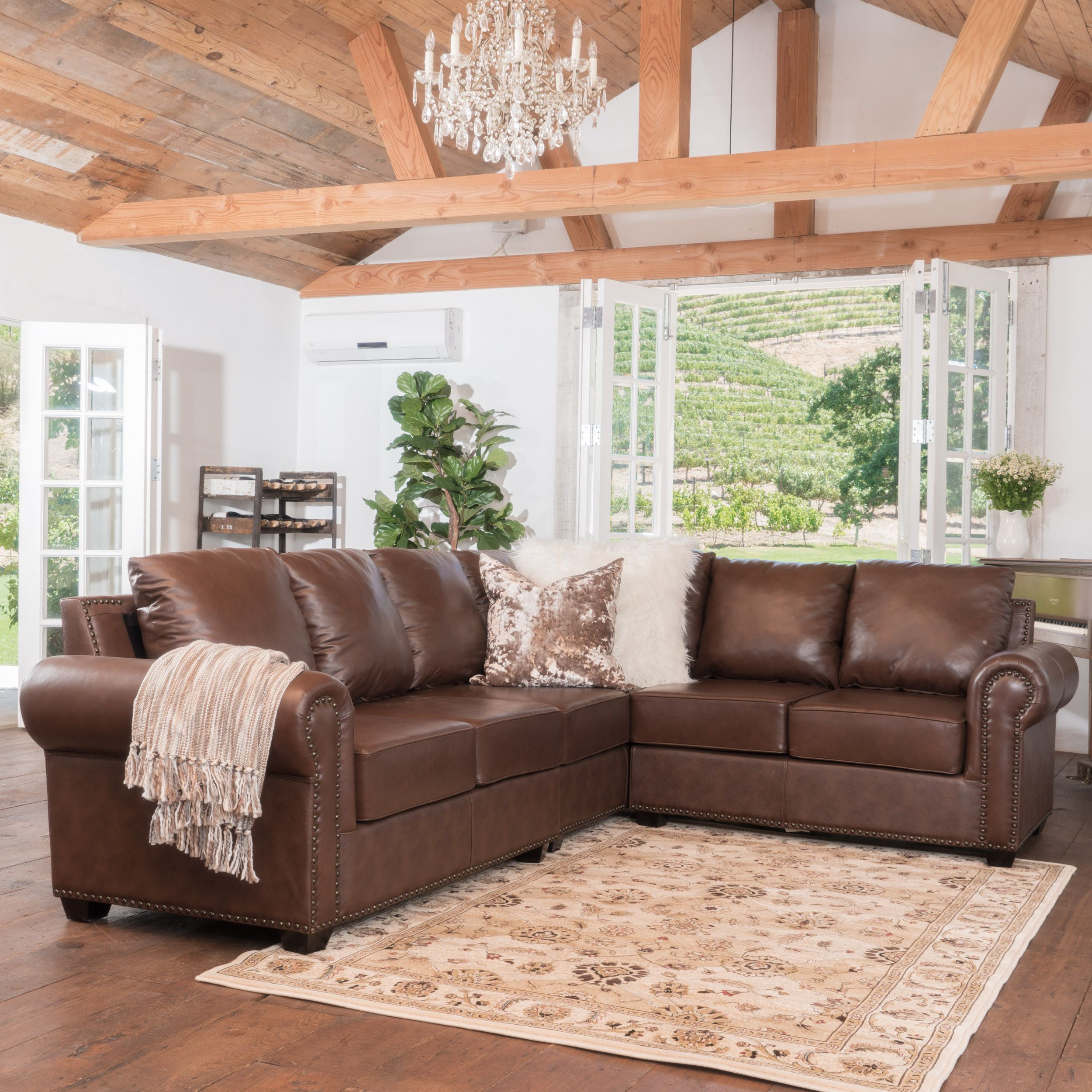 Olivier Studded Leather Sectional Couch Leathersectionalsofas