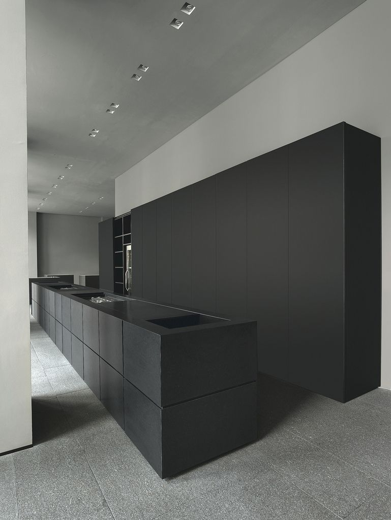 beautiful minimal minotti cucine kitchen matte black kitchen
