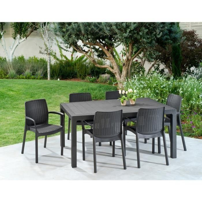 Keter Ensemble Table De Jardin Melody 160 Cm 6 Fauteuils Bali Imitation Resine Tressee Graphite Ensemble Table De Jardin Ensemble De Jardin Table De Jardin