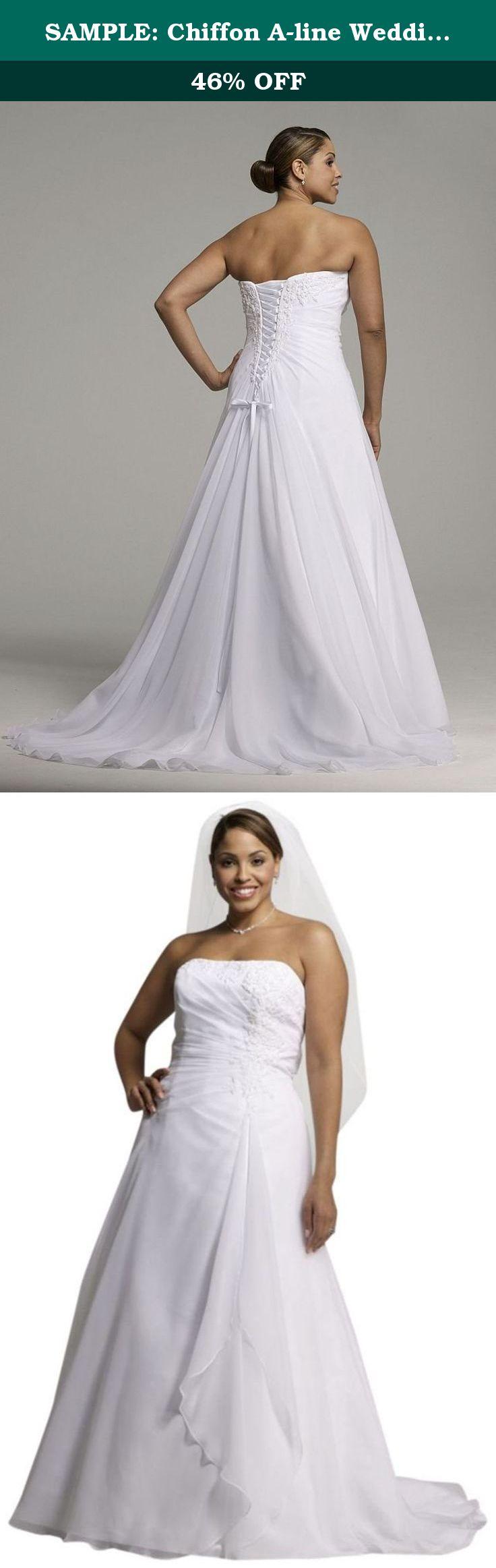 Sample chiffon aline wedding dress with side draped bodice style