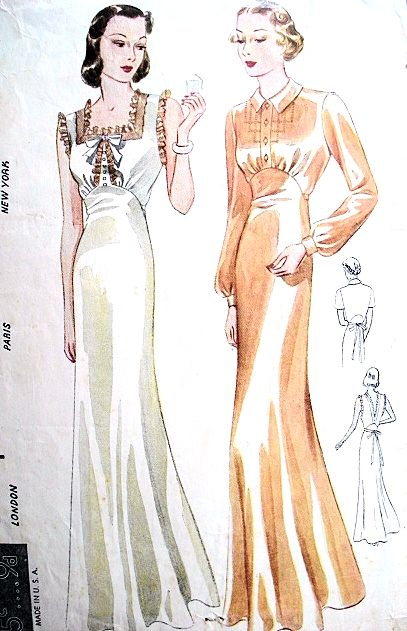 1930s Bias Cut Nightgowns Pattern Simplicity S611 Two Slinky Styles Bust 32 Vintage Sewing