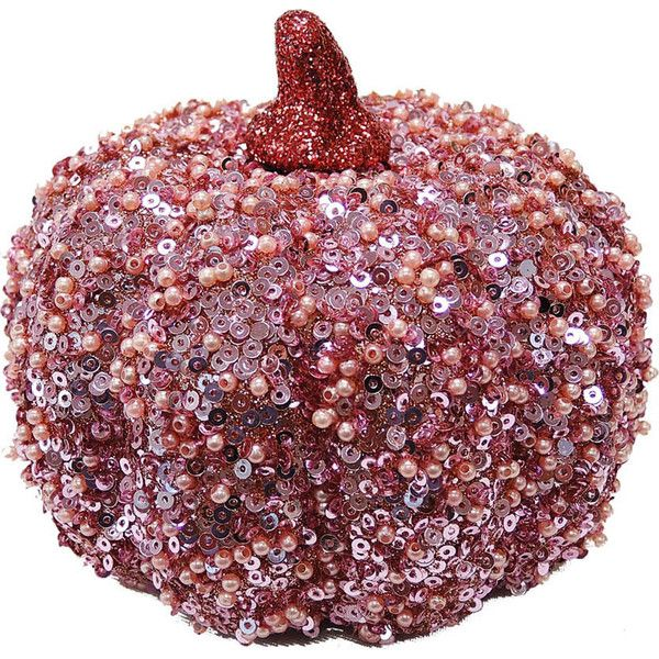 Susan Winget Extra Small Rose Gold Beaded Sequin Pumpkin (38 VEF) ❤ liked on Polyvore featuring fall