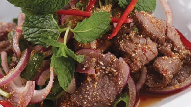 Yum nam tok salad spicy beef salad  cooking  Beef