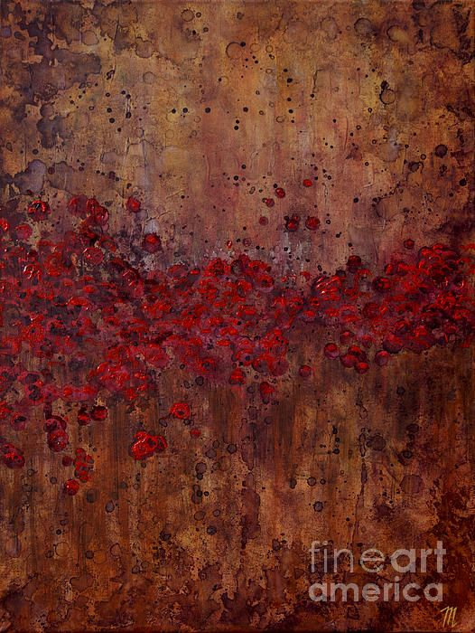 This abstract of a still poppy field against a stark, rugged background was conceived in remembrance of those who have passed before us & have sacrificed so that we may carry on.