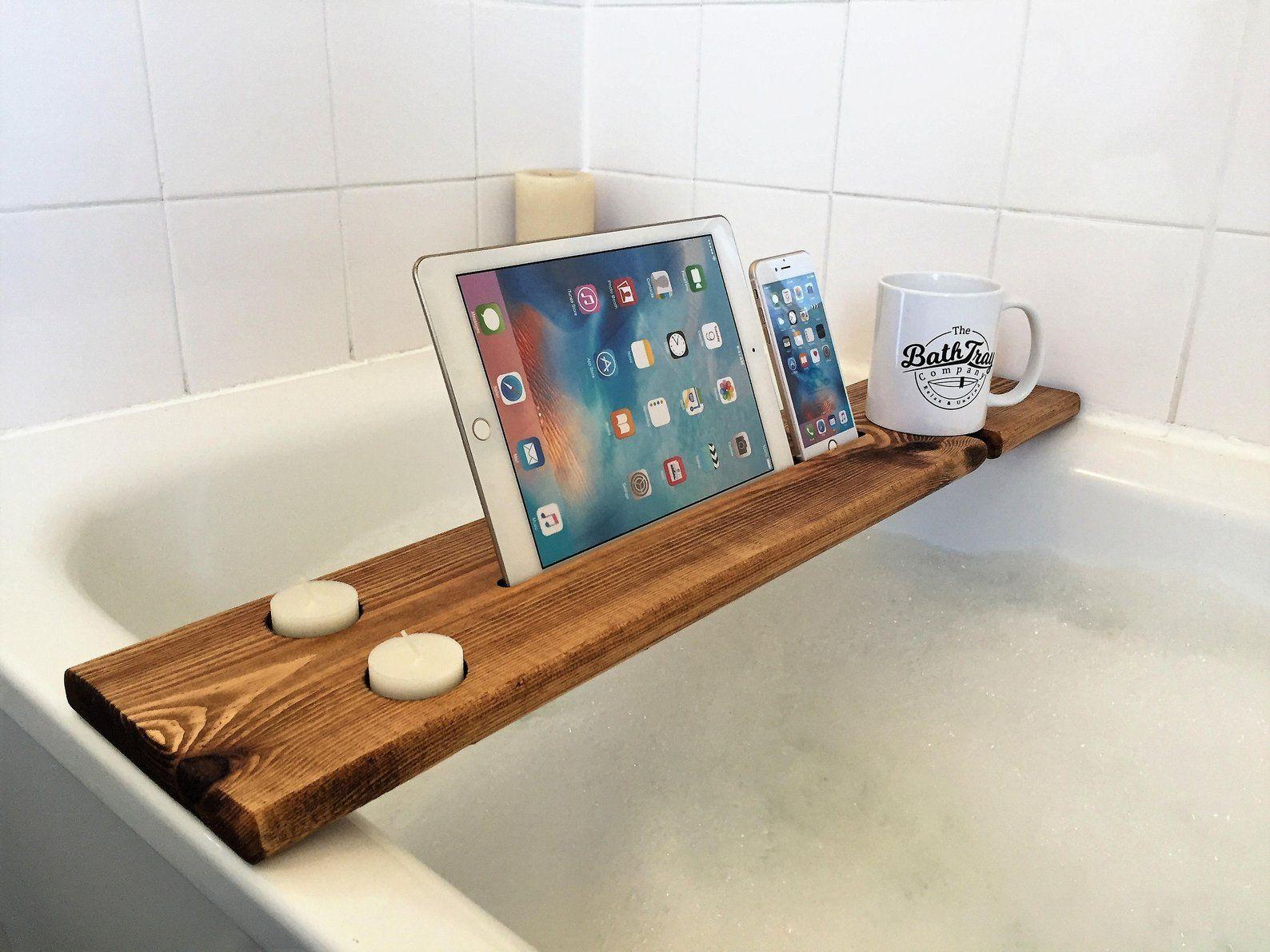 Wooden Bath Caddy Tray Reclaimed Solid Wood Bath Shelf Wine Etsy Badewanne Ablage Badeprodukte Badewanne