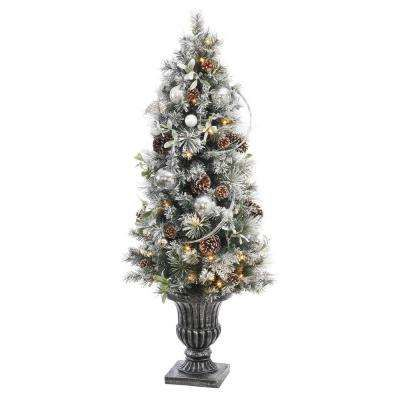 battery operated snowy silver pine potted artificial christmas tree with 50 clear led