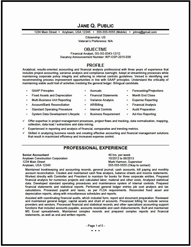 Financial Analyst Resume Examples Fresh Federal Financial Analyst Resume Sample The Resume Clinic