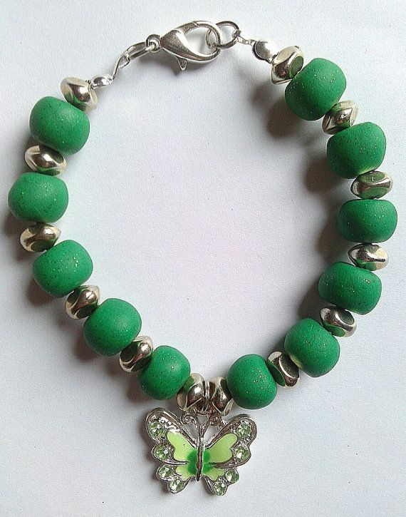 Glittered green polymer clay bracelet with enameled by KaisCards, £10.00