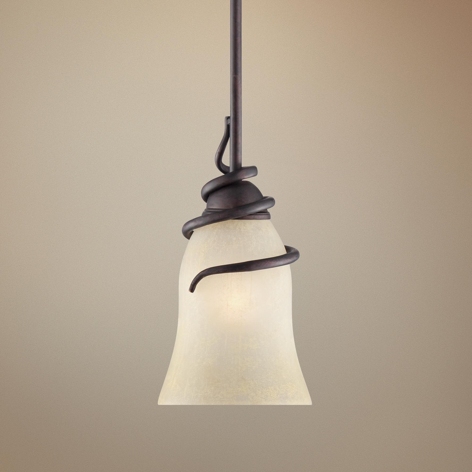 "Swirled Iron 12"" High Bronze Mini Pendant Light"